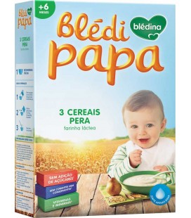 Farinha Bledipapa +6 Meses 3 Cerea/Pera 250g cx/7