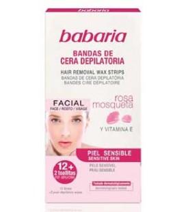 Bandas Cera Depilatoria Facial Babaria x12 cx/6
