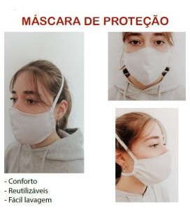 Mascara de Protecao Reutilizavel Tecido Branco